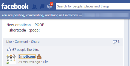 Poop Emoticon for Facebook Comments